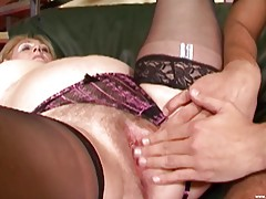 Eva is a chubby MILF who loves riding a thick cock! Watch this skanky blonde in action as she gets banged in the ass after fucking a giant dildo!