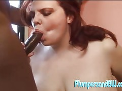 Chunky babe Amber Foxxx starts things off with her vibrator and ends it all riding a stiff black dick!