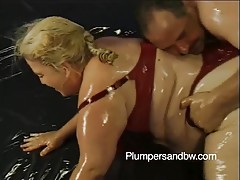 Patty Parker is sporting blonde hair and a huge appetite for fucking. No hole is off limits as she spreads her thighs wide for a red set of anal beads to be crammed deep in her clenching asshole Her equally tubby fuck buddy sweats and grunts as he pumps h