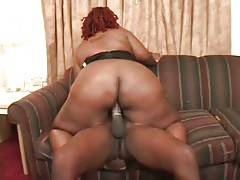 Slutty obese black chick is jumping on lover`s hard boner.