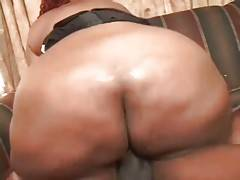 Chocolate plumper with huge butt sucks and rides hard cock.