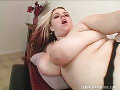 Obese white whore gets her welcome pussy does with black cock.