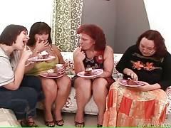 Three mature fatties congratulate their girlfriend with her Birthday.
