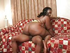 Big bottomed fat ebony is jumping on partner`s hard shaft.