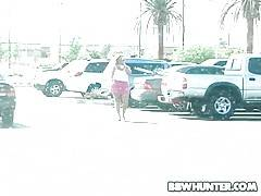 Plump blonde Rylee needs to get to her car and BBW hunter is ready to help her.